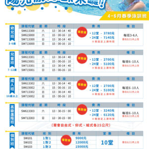 ️【陽光游泳課4~6月春季泳訓班】